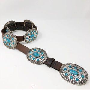 Nocona Leather Turquoise Concho Western Boho Belt